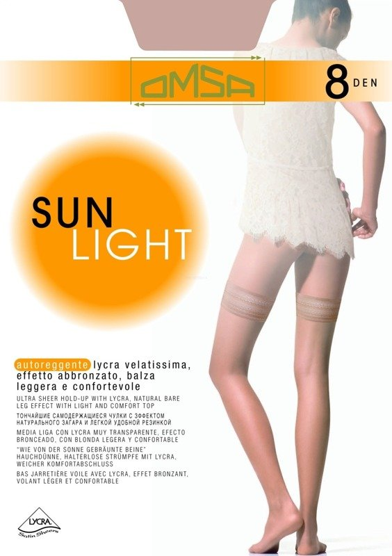 Pończochy samonośne Sun Light 8 Omsa sierra